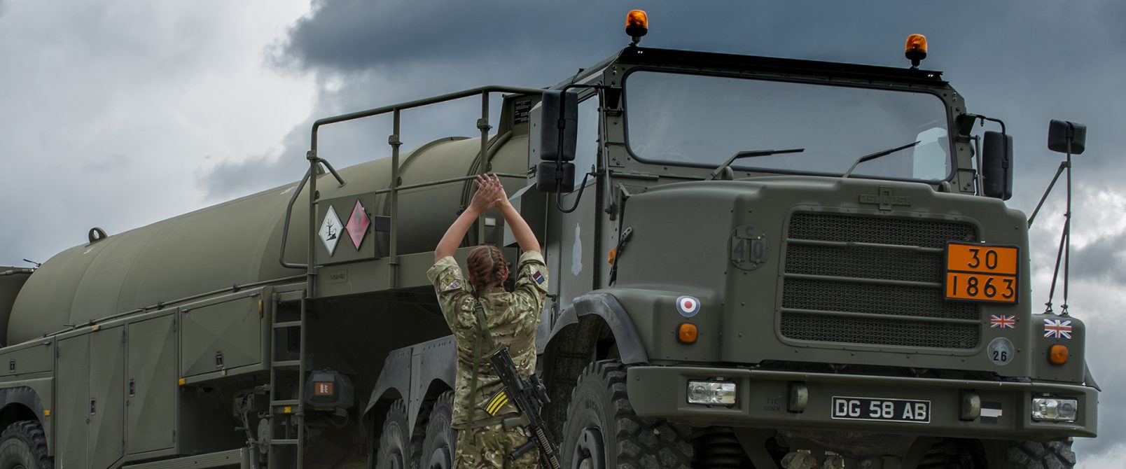 Tactial Supply Wing of the Royal Air Force get a Fuel Truck into postion to await incoming Helicopters for refueling during Exercise Swift Responce.